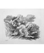 1801 ORIGINAL ETCHING Print by Howitt - DOGS Pair Hunting Chasing Pray - $20.92