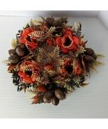 Vintage retro fall autumn Floral foliage nuts plastic Centerpiece thanks... - $19.79