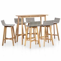 vidaXL Solid Acacia Wood 7 Pieces Outdoor Bar Set Poly Rattan Brown And ... - $361.99