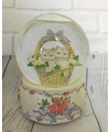 Two Cats in basket  Rose Decorated Snowball Plays Cherish I Do David Cas... - $23.07