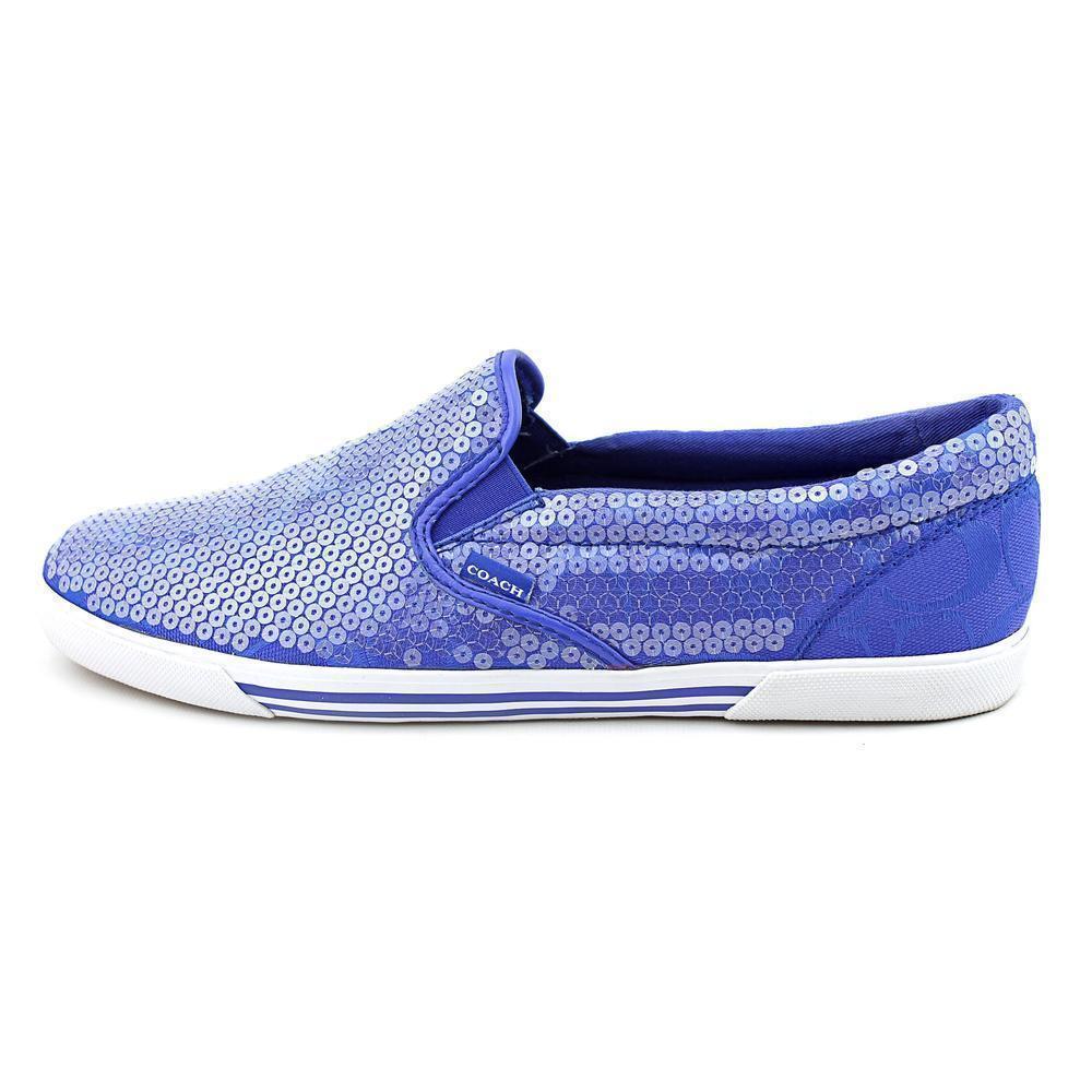COACH KIVY Blue Sequin C Logo Slip On Boat Shoes Loafers NWOB Sz 6
