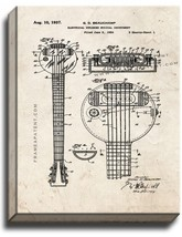 Electrical Stringed Musical Instrument Patent Print Old Look on Canvas - $39.95+