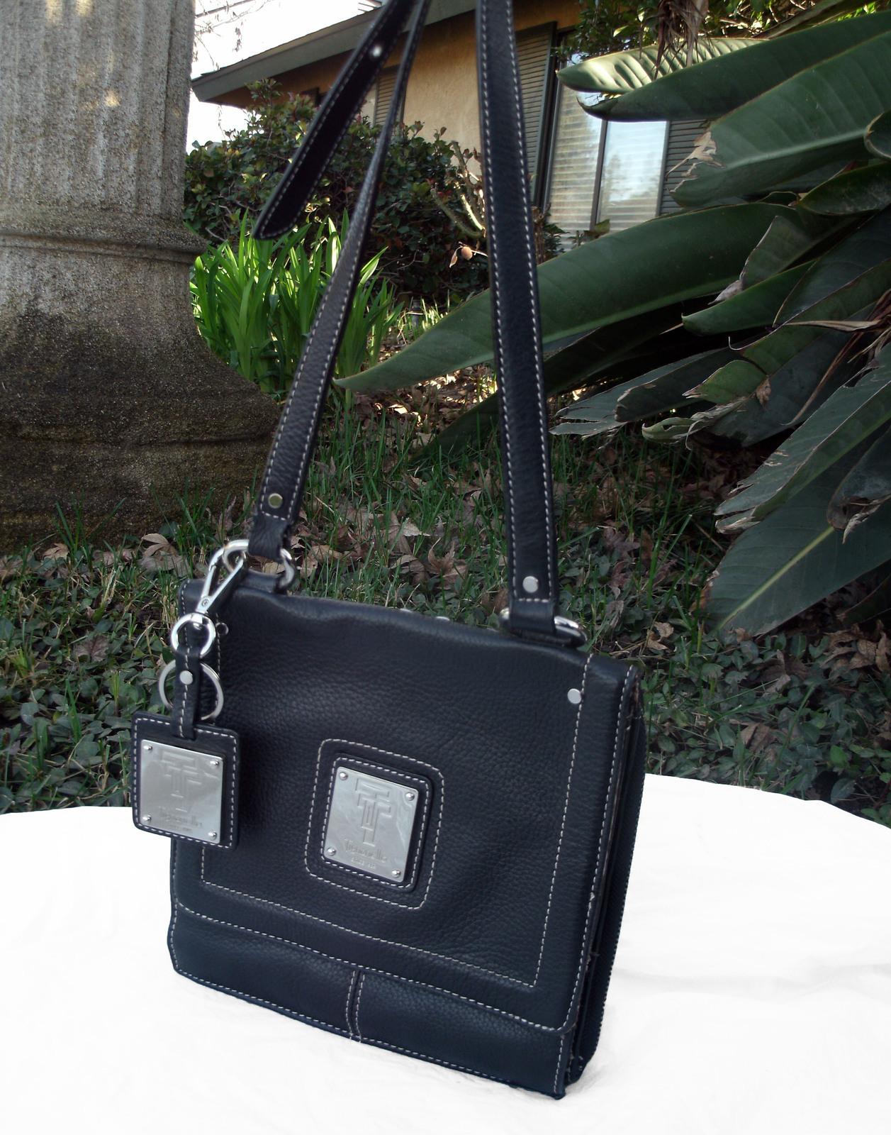 Tignanello Black Pebbled Leather Organizer Crossbody built in Wallet image 2