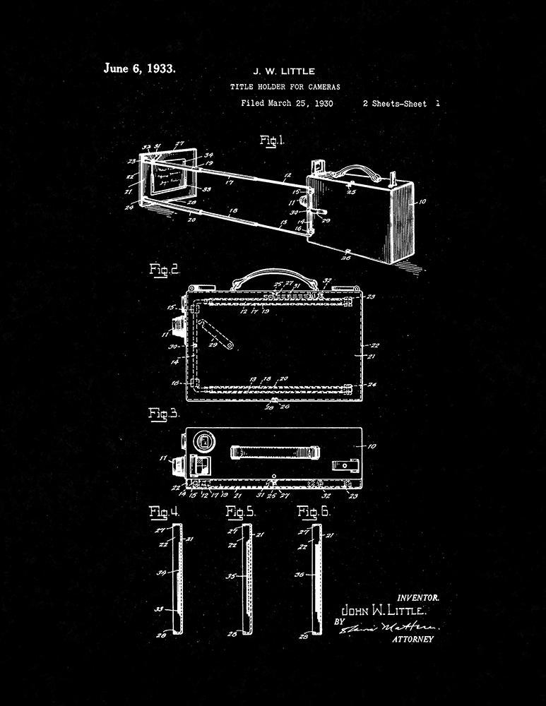 Primary image for Title Holder for Cameras Patent Print - Black Matte