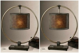"TWO 28"" DALOU MID CENTURY RESTORATION INSPIRED METAL TABLE LAMPS UTTERMOST - $620.40"