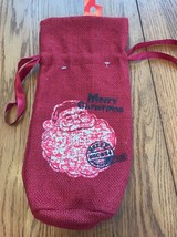 Merry Christmas Red Burlap Wine Bag with Drawstring Ships N 24h - $16.81