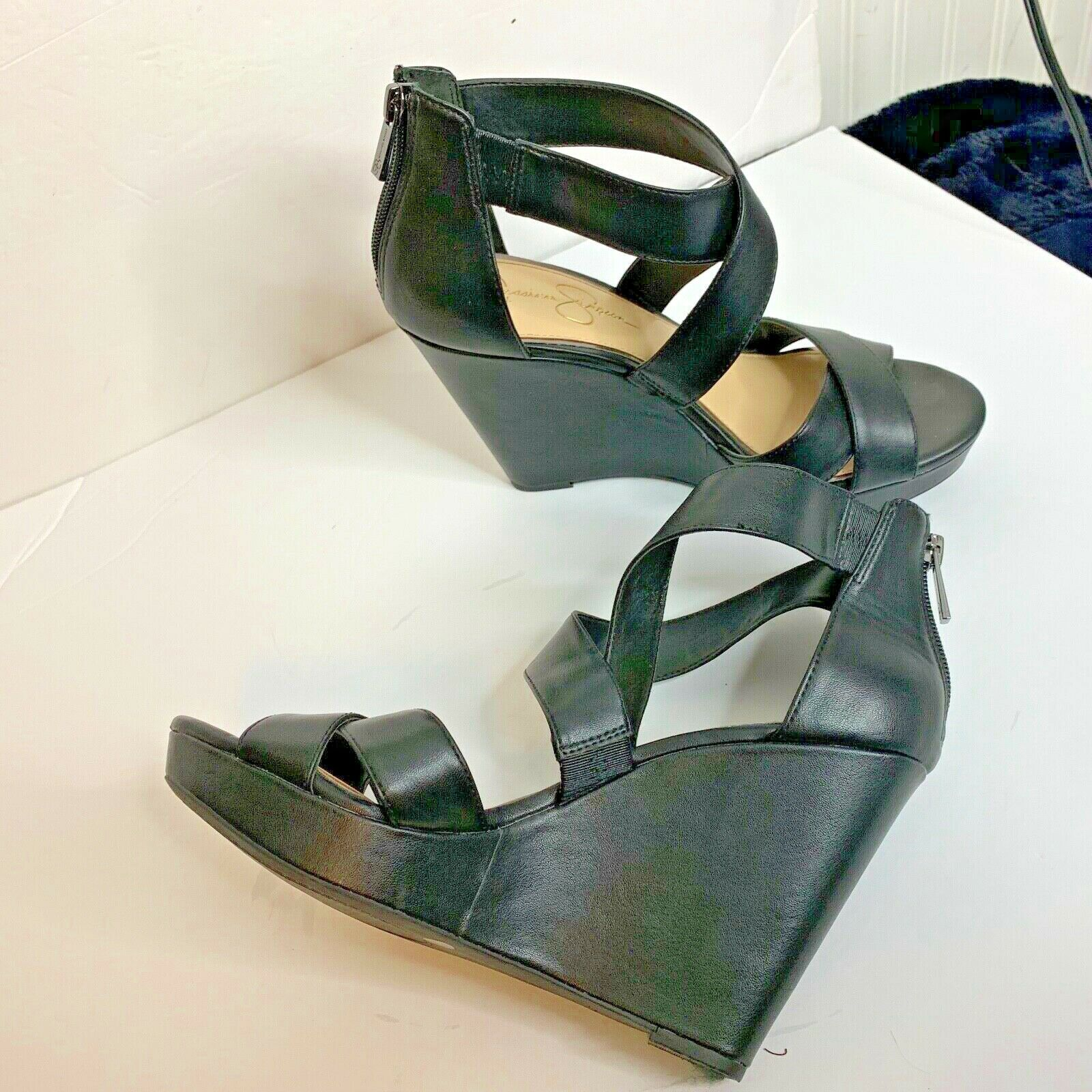 Primary image for Jessica Simpson Womens Sz 9.5 Black Wedge Strappy Sandal Heel Shoes Zip Back