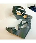 Jessica Simpson Womens Sz 9.5 Black Wedge Strappy Sandal Heel Shoes Zip ... - $23.36