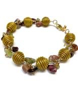 Cluster Bracelet, Wire wrapped stones, Golden Grass Bracelet, Natural Br... - $28.00