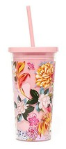 Ban.do Floral Insulated Sip Sip Tumbler With Reusable Silicone Straw, 20 Ounces,