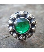 Green Emerald Sterling Silver Ring , Natural Zambian Emerald gemstone Ring, 925  - $78.18