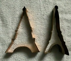 """2 Eiffel Tower Copper Metal Cookie Cutters Crafts 7"""" Tall - $29.65"""