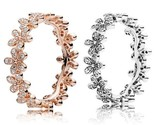 18K Rose gold \ Silver, Dazzling Daisy Meadow, 925 Silver, Engagement ring, CZ - €21,43 EUR - €23,81 EUR
