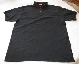 Hanes Stay Clean adult large L 42-44 mens Black short sleeve polo shirt NOS - $16.08