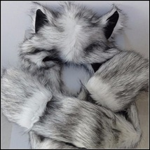 Warm Winter Faux Fur Gray Snow Wolf Earred Cap Three in One Hat Scarf Mittens image 3