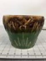 McCoy Sunburst Green & Brown Planter Pot Ceramic Unmarked - $19.79