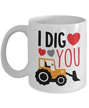 I Dig You Valentines Day Coffee Mug - White Ceramic Cup - 11oz 15oz Gift... - $14.95+