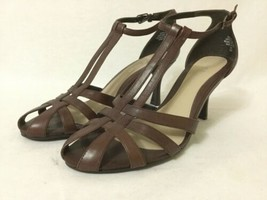 Nine West Shoes KATELYN Heels Brown Leather Ankle Strap Party Wedding Size 8M - $29.70