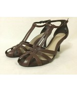 Nine West Shoes KATELYN Heels Brown Leather Ankle Strap Party Wedding Si... - $29.70