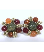Vintage Beaded Chunky Earrings Statement Clip On Gold Tone Greens Reds  - $9.79