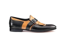 Two Tone Black Tan Oxford Men Real Leather Fashion Rounded Toe Monk Buckle Shoes - $139.90+