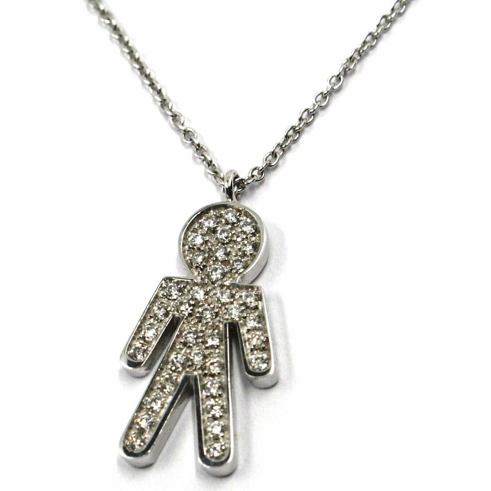 18K WHITE GOLD NECKLACE, BABY, CHILD, BOY, SON PENDANT WITH DIAMONDS ROLO CHAIN