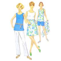 Vtg 60s Simplicity 8264 Half Size Wrap Skirt Sleeveless Top Pants Shorts 20.5/43 - $5.00