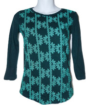 J. Crew Factory Embroidered Knit Top XXS dark green 3/4 sleeves - $11.00