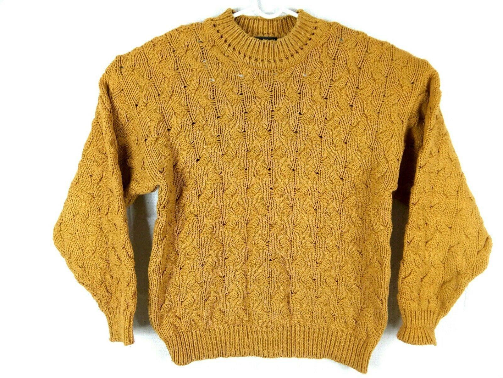 Vtg Ellis Island Men Sweater XL Mustard Yellow Crewneck Chunky Cardigan Pullove