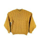Vtg Ellis Island Men Sweater XL Mustard Yellow Crewneck Chunky Cardigan ... - $44.37