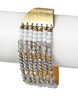 Nakamol Bottone Chiusura Mano Martellato Oro Bianco Cristallo Austriaco Perline