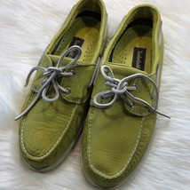 Timberland 2-Eye Boat Shoes Mens Size 11.5 green yellow Leather loafer - $32.72