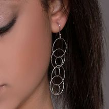 Drop Earrings Silver 925 Rhodium and Circles by Maria Ielpo Made in Italy image 3