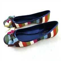 Coach Multicolor Satin Striped Ballet Flats Round Toe Comfort Shoes Wome... - $34.54