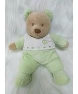 "15"" Kids Preferred Bear Lovey Green White Soft Plush Stuffed Toy Sewn Fa... - $19.97"