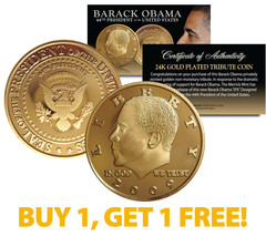 BARACK OBAMA 2009 Tribute Coin 24K Gold Plated *** BUY 1 AND GET 1 FREE ... - $8.86