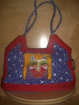 LAUREL BURCH Cat Faces, Cats on Canvas Bag Purse Tote - $29.70