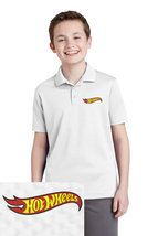 Youth Hot Wheels Embroidered Polo Shirt S M L Xl White Dry Fit Polyester - $24.99