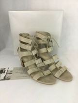 Marc Fisher Paradox Light Natural Suede Size 9 Wide Strappy Back Zip Sandal Shoe - $27.12