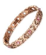 Pink Crystal Gem Bracelet Magnetic Health Bio Energy Bracelets Rose Gold Fashion - $39.92