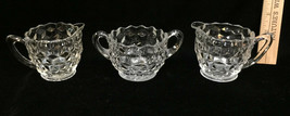 Creamers & Sugar Bowl Fostoria American Clear Glass Pattern Vintage Set ... - $14.84