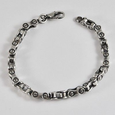 SILVER 925 BRACELET RHODIUM WITH BROWNING AT CHAIN OF BICYCLE BIKER