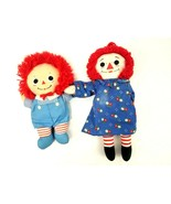 """(2) Vintage 12"""" & 10"""" Raggedy Ann and Raggedy Andy Old Dolls Pre-Owned - $13.98"""