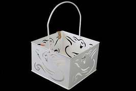 Halloween Ghost White Metal Cut Out Basket BOO NIB Candle Holder Decor - €8,21 EUR