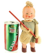 Vintage Max Carl Composite Wind Up Toy Doll Girl Sweeping Broom West Ger... - $56.69