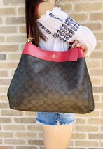 Coach F27972 Lexy Shoulder Bag Brown Signature Red Leather Trim - £119.15 GBP