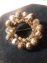 Vintage Rose and Geometric Stone Brooch Pin - $4.95