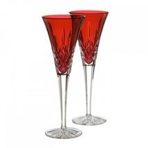 Waterford Crystal Lismore Crimson Champagne Flute Pair #143815 Valentine Love - $176.72
