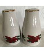Gibson Everyday China Poinsettia Salt & Pepper Shakers Holiday Gold Trim... - $19.99