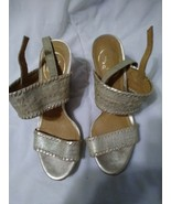 Jack Rogers Silver Gold Wedge Heels  Womens  Size 5.5 M - $36.04